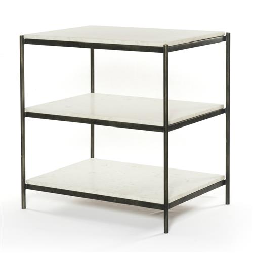 Kian Modern Hammered Grey Frame 3 Tier White Marble Shelves Nightstand | Kathy Kuo Home