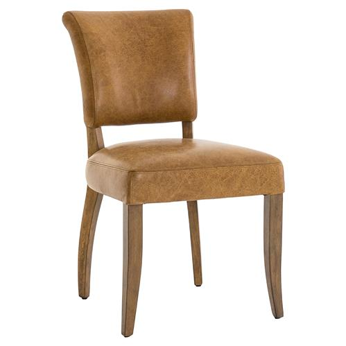Louise Modern Classic Aged Tan Leather Upholstered Oak Wood Dining Chair | Kathy Kuo Home