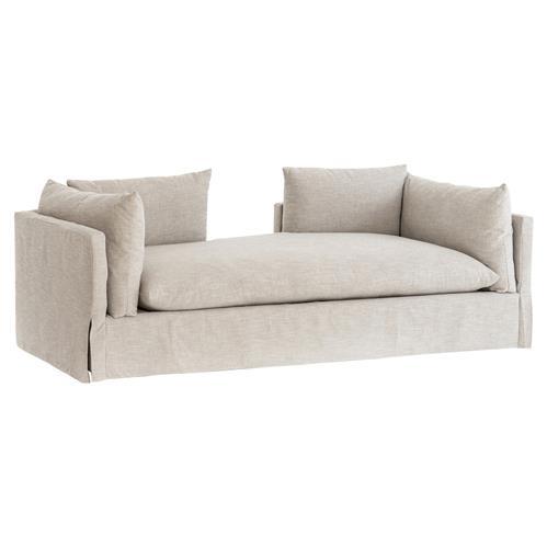 Lovi Modern Classic Beige Upholstered Slipcover Sofa Bed Chaise