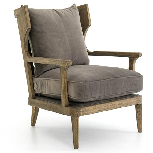 Maria Modern Classic Mocha Cushioned High Back Solid Oak Armchair | Kathy Kuo Home