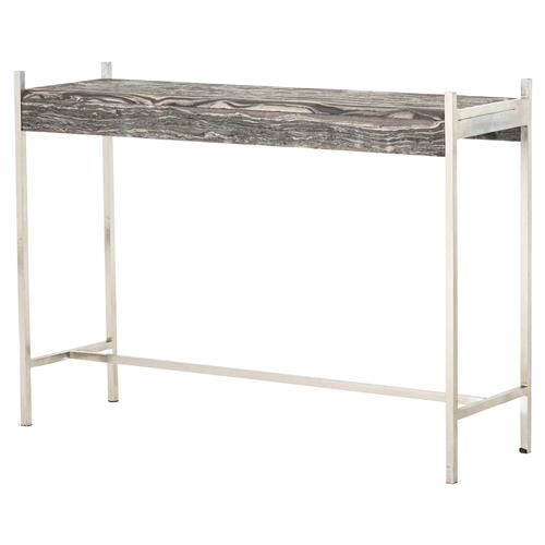 Mona Modern Grey Marble Top Slim Sturdy Pewter Iron Frame Console Table | Kathy Kuo Home