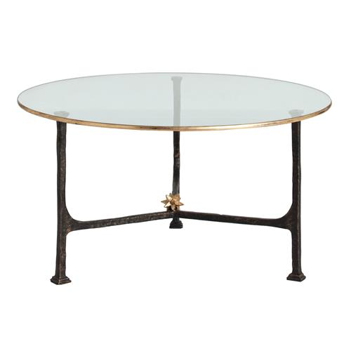Narnia Hand Forged Iron Gold Leaf Contemporary Coffee Table | Kathy Kuo Home