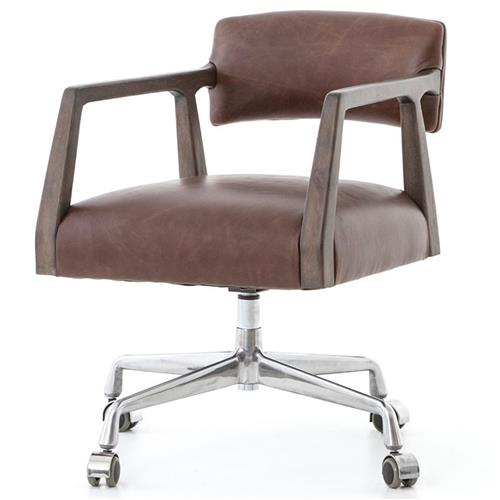 Pia Modern Low Back Brown Leather Upholstered Burnt Oak Office Chair | Kathy Kuo Home