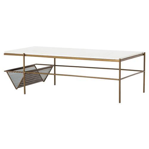 Narrow Rectangular Brass And Marble Coffee Table By Edward: Pio Modern Classic Gold Iron Frame White Rectangular