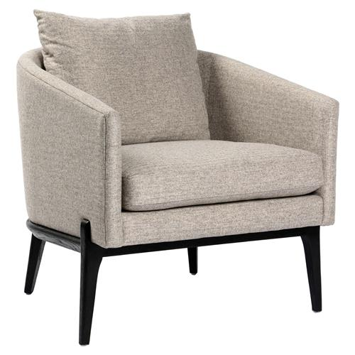 Rose Modern Classic Grey Linen Upholstered Black Oak Legs Tub Chair | Kathy Kuo Home
