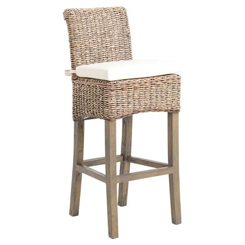 Sisson Modern Classic Woven Banana Leaf Mahogany Wood Frame Bar Stool | Kathy Kuo Home