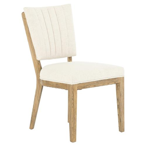 Suzi Modern Classic Ivory Upholstered Brown Nettle Wood Dining Chair | Kathy Kuo Home