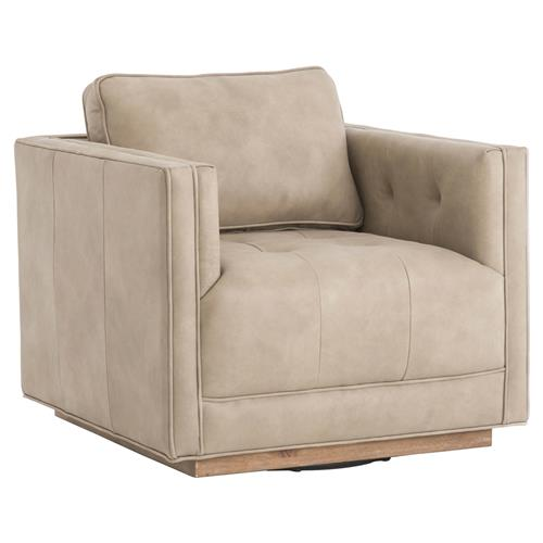 Tilda modern swivel base beige leather upholstered square - Modern upholstered living room chairs ...
