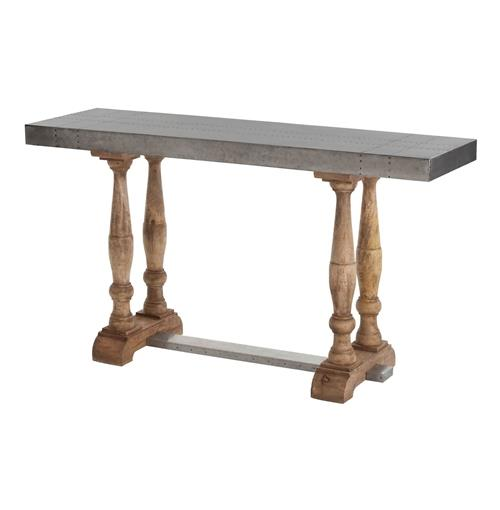 Winfred Industrial Steel Reclaimed Wood Trestle Console Table | Kathy Kuo Home