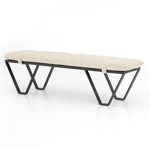 Vigdis Modern Classic Textured Beige Cushion Iron Frame Bench | Kathy Kuo Home
