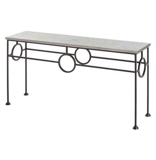 Westerly Industrial Zinc Wrapped Iron Console Table | Kathy Kuo Home