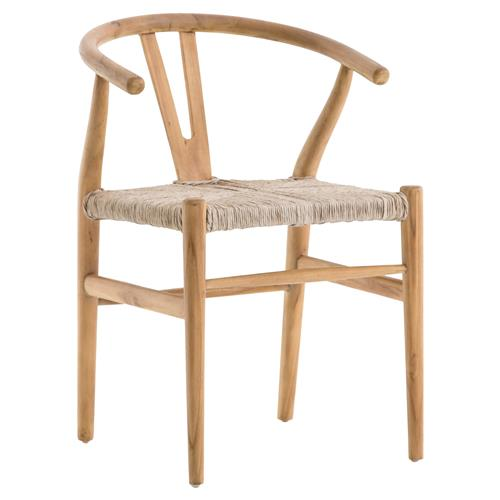 Wanda Coastal Beach White Woven Seat Curved Back Natural Teak Dining Chair | Kathy Kuo Home