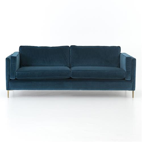 Nicholas Modern Classic Blue Upholstered Gold Metal Sofa | Kathy Kuo Home