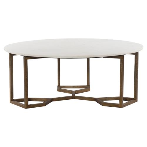 zia modern geometric gold frame round white marble top round coffee table