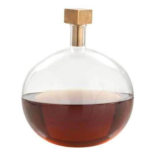 Arteriors Edgar Round Modern Glass Square Brass Stopper Decanter | Kathy Kuo Home