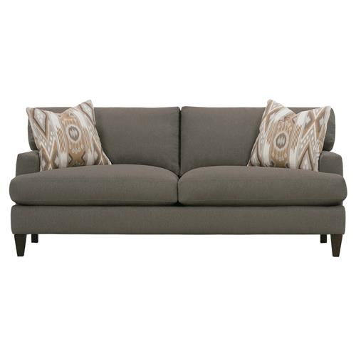 Caspian Modern Classic Brown Upholstered Wood 2 Cushion Sofa | Kathy Kuo Home