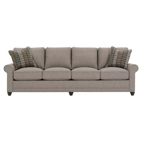 Katja Modern Classic Roll Arm 4 Cushion Loose Back Brown Upholstered Sofa