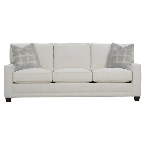Keira Modern Classic White Upholstered Track Arm 3 Cushion Sofa