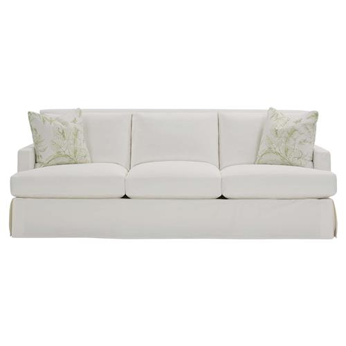 Kinnor Modern Classic White Upholstered 3 Cushion Track Arm Slipcovered Sofa