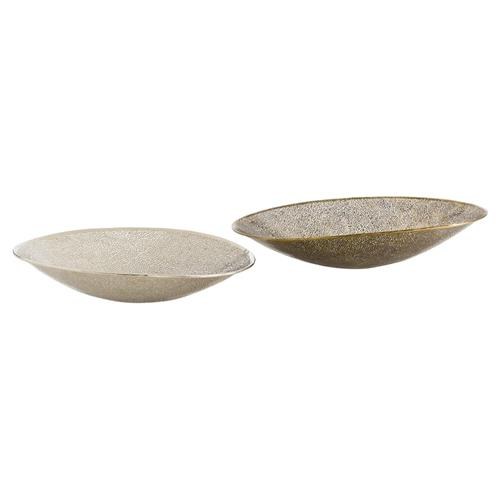 Global Bazaar Textured Brass Nickel Decorative Bowls - Pair | Kathy Kuo Home