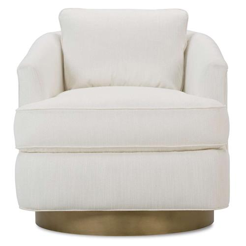 Lucrezia Modern Classic White Upholstered Gold Brass Base Swivel Arm Chair | Kathy Kuo Home