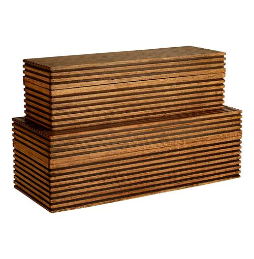 Arteriors Trinity Carved Wood Trinity Large Boxes- Set of 2 | Kathy Kuo Home