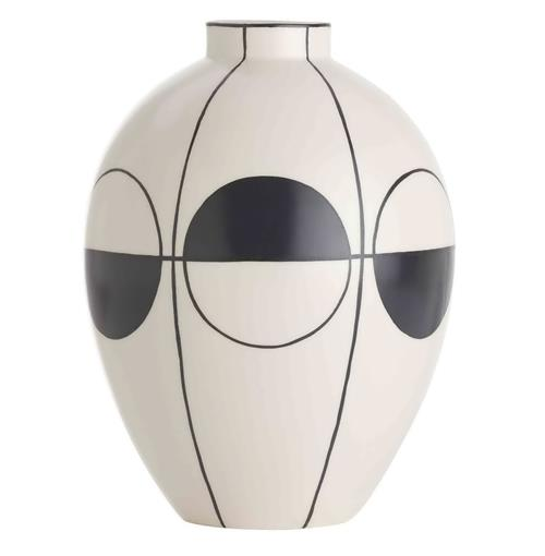 Whistler Black and White Color Block Modernist Porcelain Vase | Kathy Kuo Home
