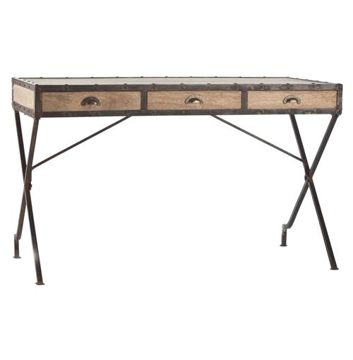 Modern Rustic Reclaimed Wood Iron Rivet Campaign Desk | Kathy Kuo Home