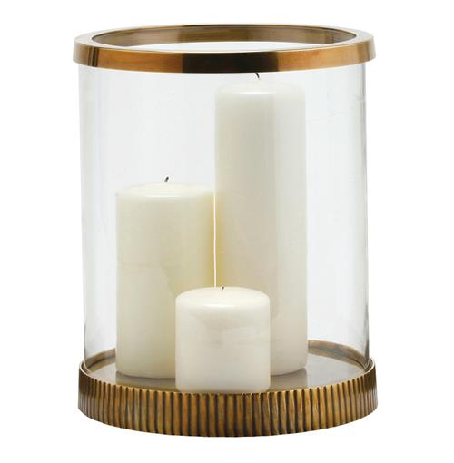 Bogart Modern Antique Brass Clear Glass Candle Hurricane | Kathy Kuo Home
