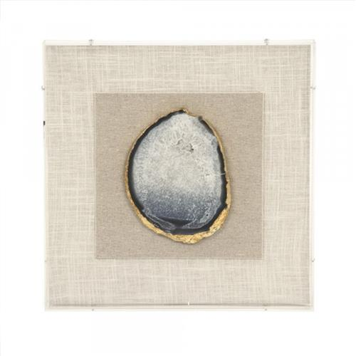 Homer Modern Classic Gold & Bluish Geode Framed Wall Art | Kathy Kuo Home