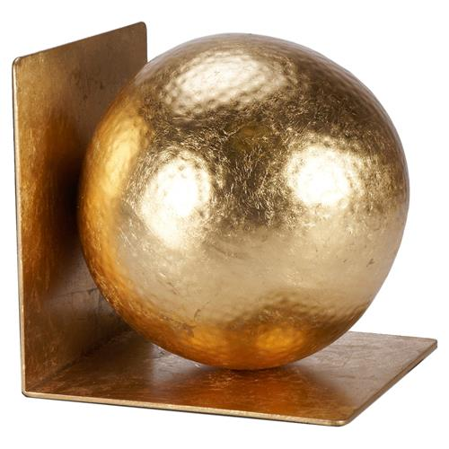 Ronan Modern Classic Gold Hammered Ball Bookends - Pair | Kathy Kuo Home
