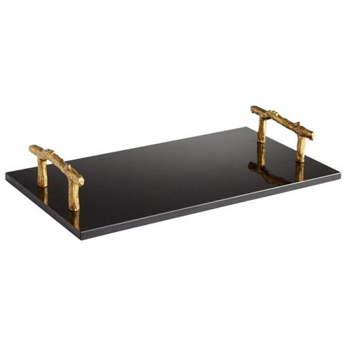Jodie Modern Classic Gold Handled Rectangular Black Slate Tray | Kathy Kuo Home