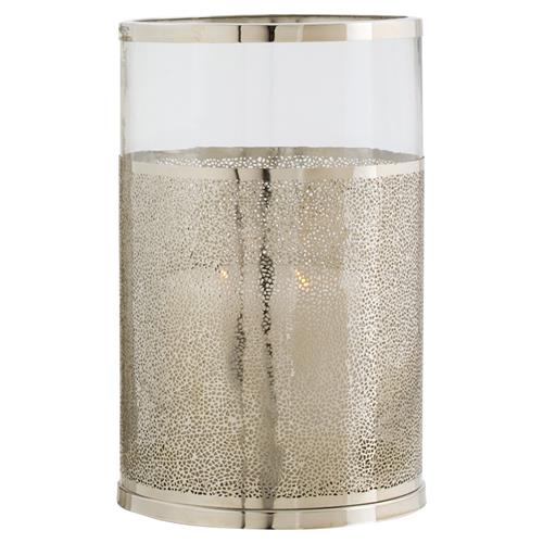 Arteriors Bombay Beach Textured Nickel Glass Hurricane - 14.5H | Kathy Kuo Home
