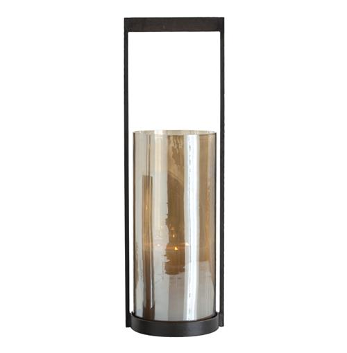Arteriors Egan Modern Mercury Glass Iron Hurricane Candle Holder - 20.5 Inch | Kathy Kuo Home