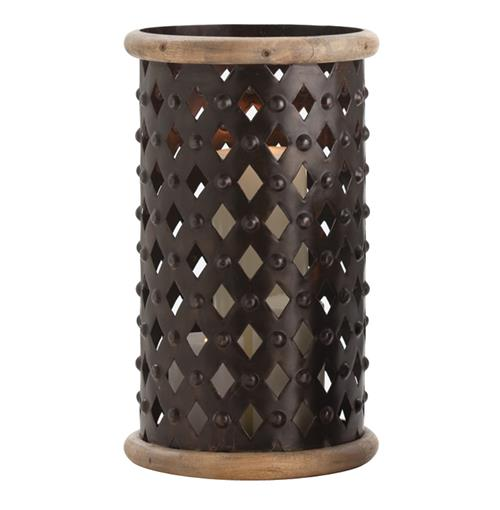 Fallon Tall Modern Rustic Misson Dark Iron Lattice Hurricane Candle Holder | Kathy Kuo Home