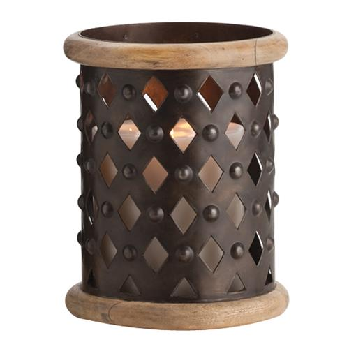 Fallon Small Modern Rustic Misson Dark Iron Lattice Hurricane Candle Holder | Kathy Kuo Home