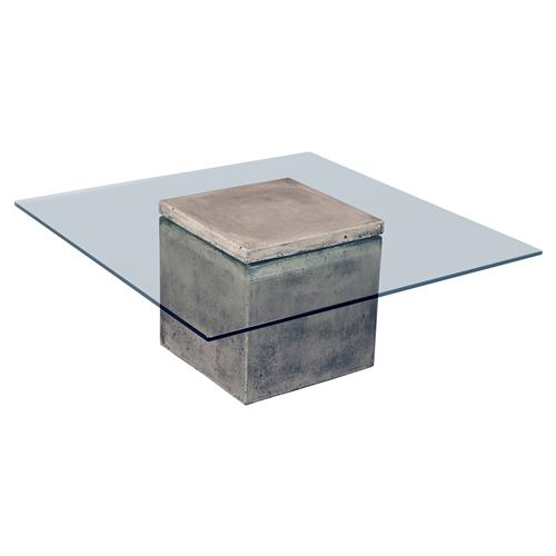 Square Coffee Table Tempered Glass: Leah Modern Classic Grey Base Square Tempered Glass Top