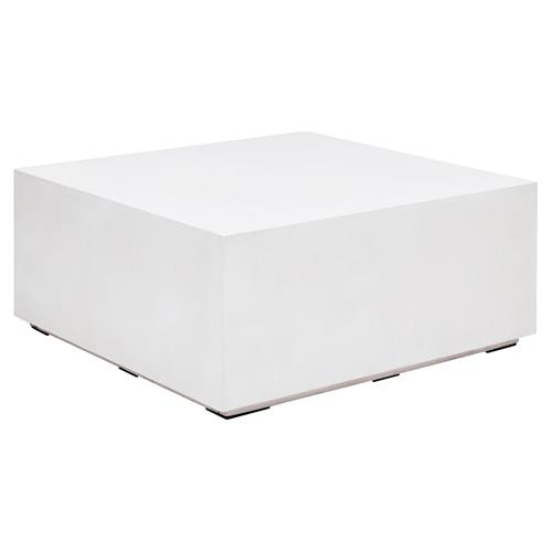 Victoria Modern Classic White Block Square Outdoor Coffee Table - Small | Kathy Kuo Home