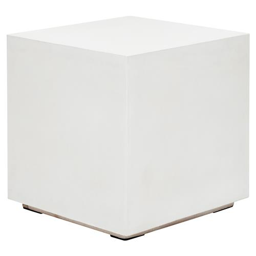 Victoria Modern Classic White Block Square Outdoor End Table Standard 14 24 H Kathy Kuo Home