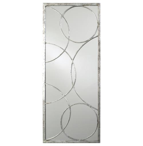 Nikita Hollywood Regency Silver Leaf Circle Motif Mirror | Kathy Kuo Home