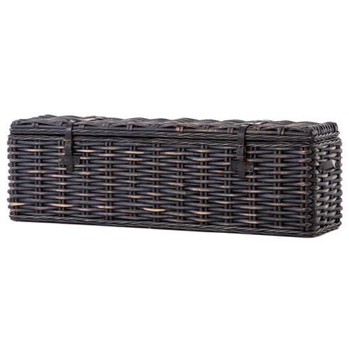 Brenna Global Bazaar Leather Accent Woven Rattan Trunk - Black Wash | Kathy Kuo Home