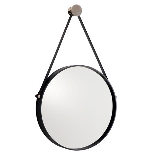 Expedition Iron Round Mirror with Leather Strap | Kathy Kuo Home