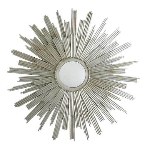 Galaxy Modern Deco Silver Sunburst Rays Mirror | Kathy Kuo Home