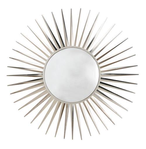 Astro Modern Convex Nickel Starburst Iron Mirror | Kathy Kuo Home