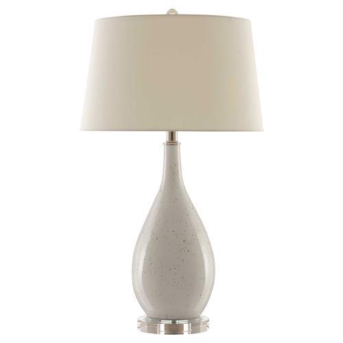 Gadin Modern Off White Shantung Cone Shade Optic Crystal Base Table Lamp