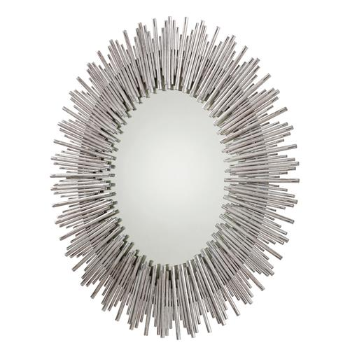 Bassett Modern Silver Leaf Tubes Oval Iron Mirror | Kathy Kuo Home