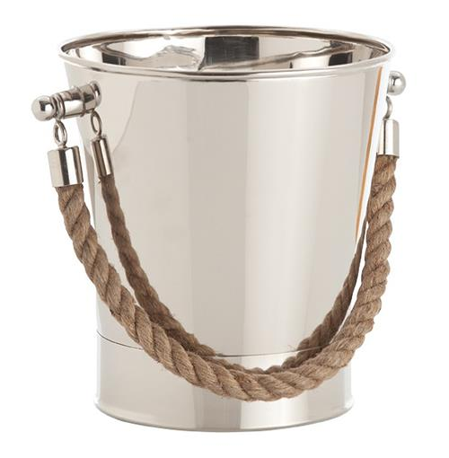 Willow Contemporary Polished Nickel Nautical Rope Wine Cooler | Kathy Kuo Home