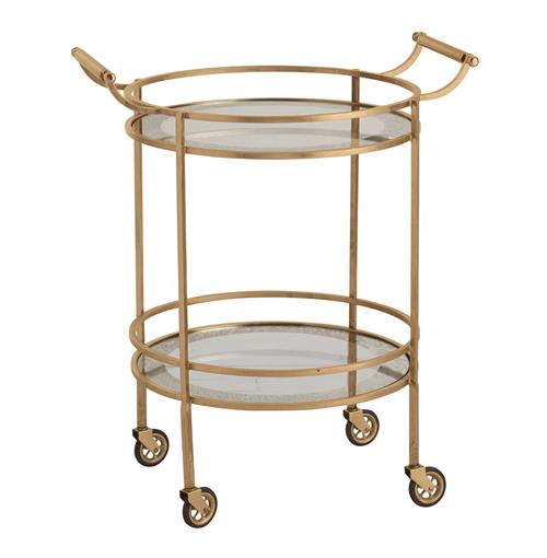 Wade Contemporary Art Deco Gold Glass Round Bar Cart | Kathy Kuo Home