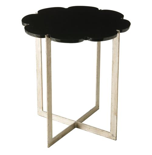 Hayden Black Scalloped Marble Silver Base Modern Side Table | Kathy Kuo Home