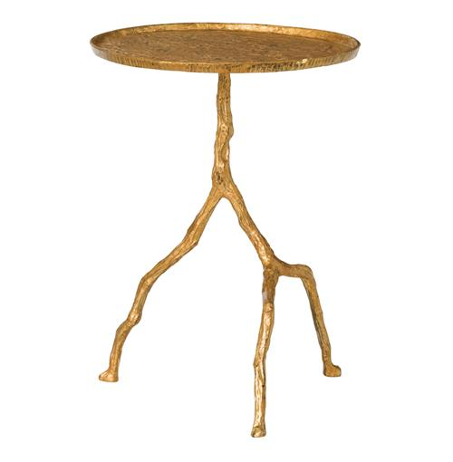 Forest Park Gold Hammered Iron Branch Sculpted Side Table | Kathy Kuo Home